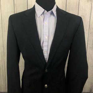 Michael Kors 42L Navy Metal Button Wool Blazer